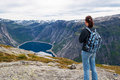 Woman looking at the lake in the mountains, Norway. Path to Trol Royalty Free Stock Photo