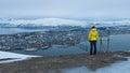 Woman looking at panorama Tromso Royalty Free Stock Photo
