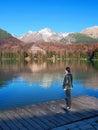 Woman looking at Strbske Pleso, High Tatras