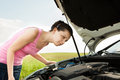 Woman Looking Under Hood Car Royalty Free Stock Photo