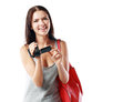 Woman looking at videocamera Royalty Free Stock Photo