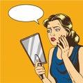 Woman looks at the mirror vector illustration in retro comic pop art style. Speech bubble