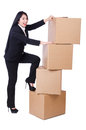 Woman with lots of boxes on white Stock Images