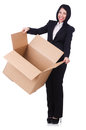 Woman with lots of boxes on white Stock Photography