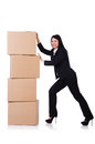 Woman with lots of boxes on white Stock Photos