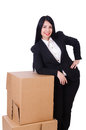 Woman with lots of boxes on white Royalty Free Stock Photography