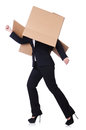 Woman with lots of boxes on white Royalty Free Stock Images