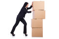 Woman with lots of boxes on white Stock Photo