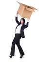 Woman with lots of boxes on white Royalty Free Stock Photo