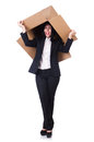 Woman with lots of boxes on white Royalty Free Stock Image