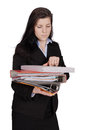 Woman with lots documents Stock Image