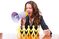 Woman with loudspeaker and paper cut people Stock Image