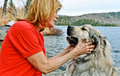 Woman lovingly holding her fury best friend blond a pyrenean mountain dog Royalty Free Stock Photography