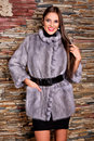Woman in Luxury purple chinchilla Fur Coat Royalty Free Stock Photo