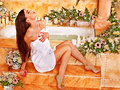Woman at luxury spa relaxing water Royalty Free Stock Photo