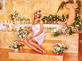 Woman at luxury spa relaxing water Royalty Free Stock Image