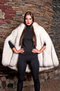 Woman in Luxury white Fur Coat Royalty Free Stock Photo