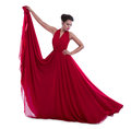 Woman in magnificent red dress fashion photo of young studio photo Stock Photo