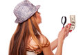 Woman with magnifier glass and money Royalty Free Stock Photography