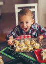 Woman make ginger bread for Christmas Royalty Free Stock Photo
