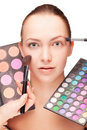 Woman with make-up and palette eyeshadow Stock Photos