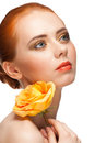 Woman with make-up and rose Stock Photography