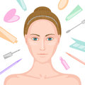 Woman without make up and various cosmetics around young white skinned variety of items her natural beauty imitation Stock Photo
