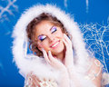 Woman with makeup beautiful young colorful winter topic Royalty Free Stock Photography