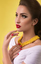 Woman with makeup in fashion clothes portrait of beautiful young Royalty Free Stock Image