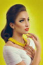 Woman with makeup in fashion clothes portrait of beautiful young Royalty Free Stock Photo