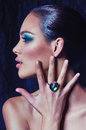 Woman with makeup in luxury jewelry portrait of beautiful young Royalty Free Stock Photography