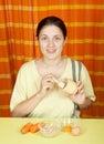 Woman making bio face-pack Royalty Free Stock Photo