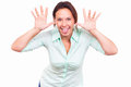 Woman is making a grimace funny Stock Photography