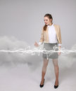Woman making magic effect - flash lightning. The concept of electricity, high energy. Royalty Free Stock Photo