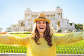 Woman making selfie on piazza venezia in rome happy young italy Stock Images