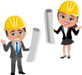 Woman and man architect ok illustration featuring smiling cartoon meg bob with helmet hand gesture holding blueprint isolated on Stock Photo