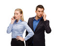 Woman and man with cell phones calling business technology communication concept businesswoman businessman Royalty Free Stock Photos