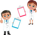 Woman and man doctor showing folder illustration featuring smiling cartoon meg bob with thumb up blank isolated on white Stock Images