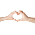 Woman and man hands showing heart shape close up of women men Royalty Free Stock Images