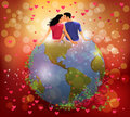 Woman and man kissing on the globe vector illustration of a a in a romantic background Royalty Free Stock Photography