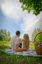 The woman and the man on picnic in park. Royalty Free Stock Image
