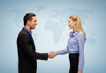 Woman and man shaking hands Royalty Free Stock Photography