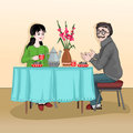 Woman and man sitting at the table and drink tea with cake. The conversation in kitchen between two people. Vector illustration