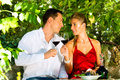 Woman and man sitting under grapevine and drinking Royalty Free Stock Images