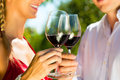 Woman and man in vineyard drinking wine Royalty Free Stock Photos