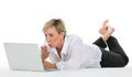 Woman manager sat on the floor with laptop white background Royalty Free Stock Photo