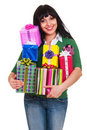 Woman with many gift boxes Royalty Free Stock Image