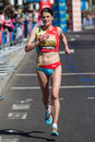 Woman marathon runner london uk april british elite susan partridge competing at the virgin london april pictured close to miles Stock Image