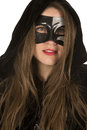 Woman mask cloak lipstick hands up