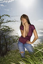 Woman on Maui coast. Stock Images